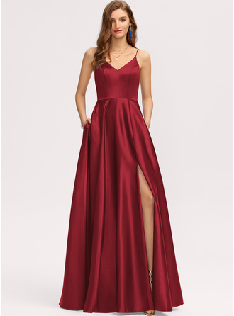 A-Line V-neck Floor-Length Satin Bridesmaid Dress With Pockets
