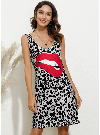 Above Knee V neck Cotton Blends Print Sleeveless Fashion Dresses
