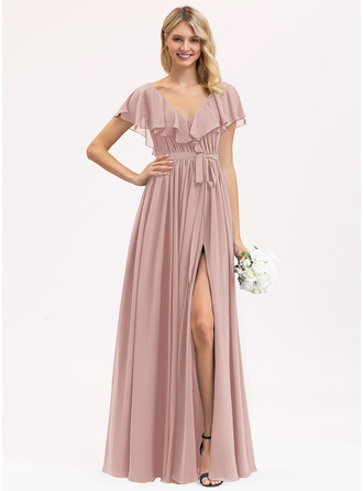 Chiffon Bridesmaid Dress With Split Front