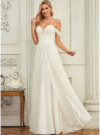A-Line Off-the-Shoulder Floor-Length Chiffon Lace Wedding Dress