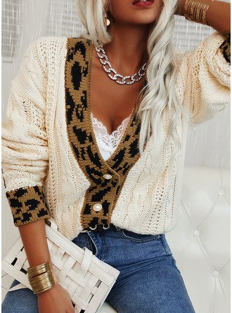 V-Neck Casual Leopard Color Block Cable-knit Sweaters