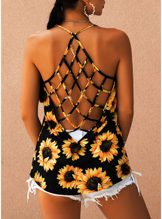 Sunflower Print Sleeveless Polyester Round Neck Tank Tops Blouses