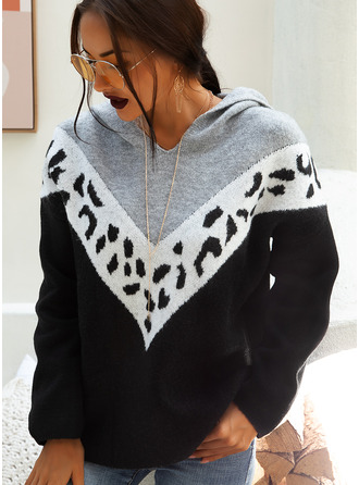 Print Color Block Chunky knit Polyester Hooded Pullovers Sweaters