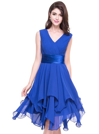 A-Line V-neck Asymmetrical Chiffon Cocktail Dress With Ruffle Cascading Ruffles