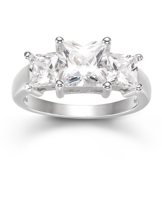 Sterling Silver Cubic Zirconia Halo Three Stone Solitaire Princess Cut Engagement Rings -