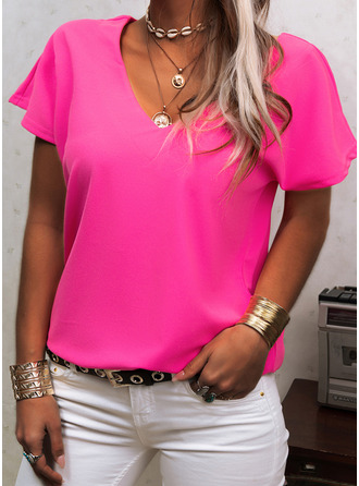 Solid V-Neck Short Sleeves Basic Casual