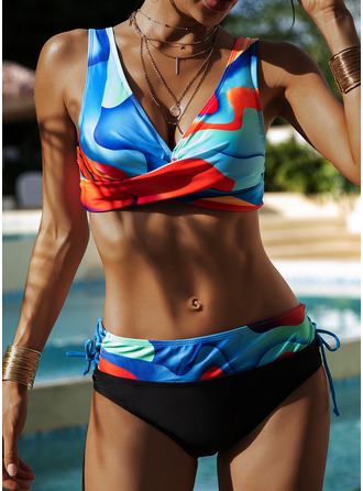Bikinis Polyester High Waist Print Women's Yes Swimwear