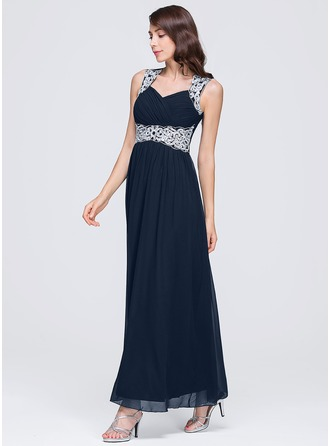 A-Line/Princess Sweetheart Ankle-Length Chiffon Evening Dress With Ruffle Lace Beading