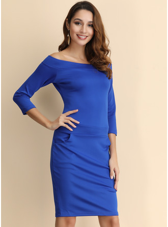 Midi Square Neck/Off the Shoulder Cotton Stitching/Solid 3/4 Sleeves Fashion Dresses