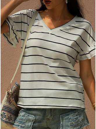 Striped V-Neck Short Sleeves Casual T-shirt
