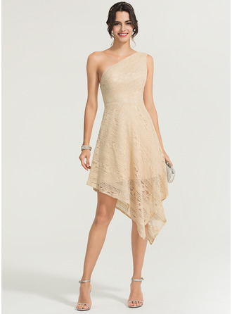 A-Line/Princess One-Shoulder Asymmetrical Lace Cocktail Dress