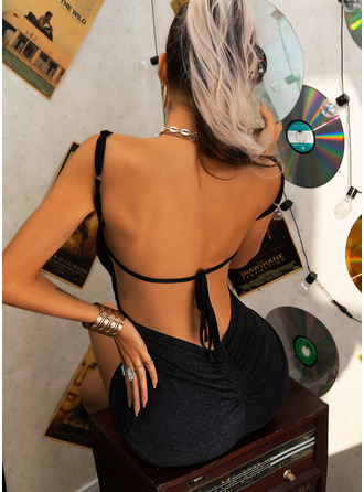 Solid Bodycon Sleeveless Mini Little Black Party Sexy Type Dresses