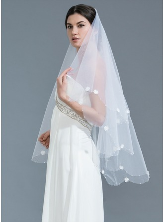 One-tier Beaded Edge Waltz Bridal Veils With Beading