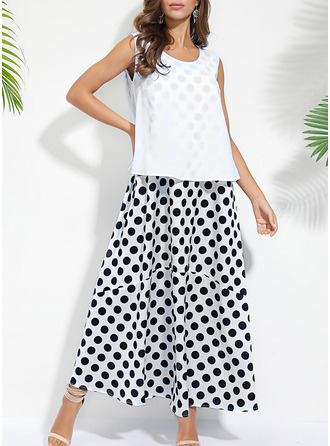 PolkaDot Shift Sleeveless Maxi Casual Tank Dresses