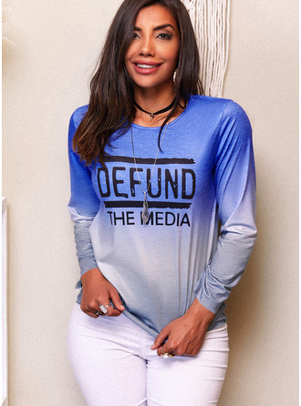 Figure Print Round Neck Long Sleeves Casual T-shirt