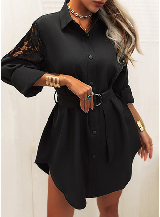 Lace Solid Sheath Long Sleeves Mini Little Black Casual Shirt Dresses