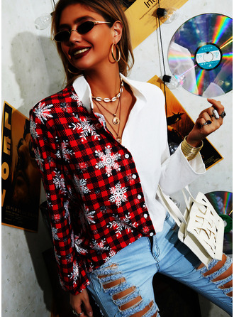 Color Block Print Lapel Long Sleeves Casual Christmas Shirt Blouses