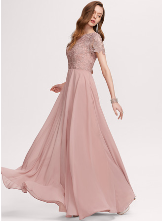 Round Neck Dusty Rose Chiffon Lace Dresses