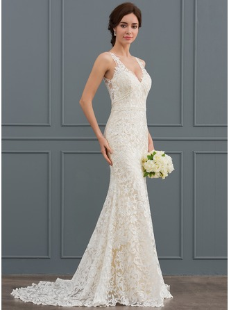 Trumpet/Mermaid V-neck Sweep Train Lace Wedding Dress