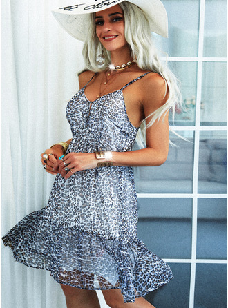 Leopard Backless A-line Sleeveless Midi Casual Type Dresses