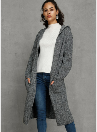 Hooded Long Oversized Solid Pocket Sweaters