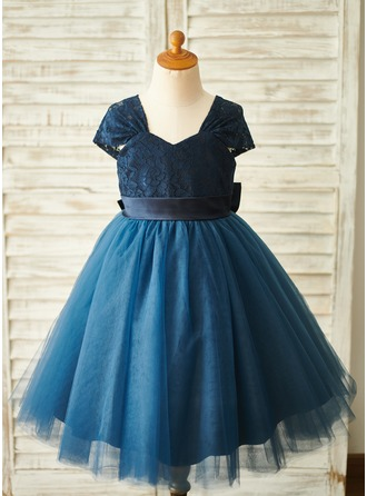 A-Line Knee-length Flower Girl Dress - Tulle/Lace Sleeveless V-neck With Bow(s)