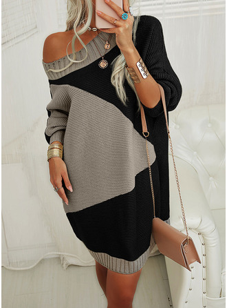 Round Neck Casual Long Color Block Sweaters
