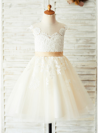 A-Line Knee-length Flower Girl Dress - Satin/Tulle/Lace Sleeveless Scoop Neck With Appliques/V Back