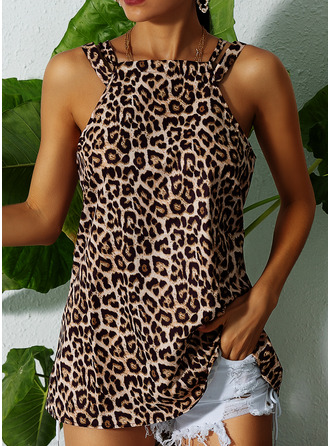 Leopard Sleeveless Polyester Round Neck Tank Tops Blouses