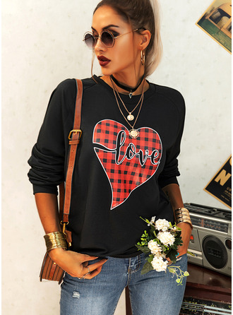 Print Grid Figure Round Neck Long Sleeves Sweatshirt