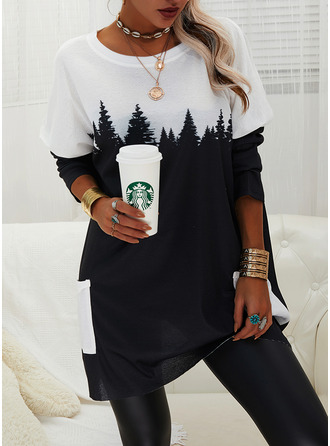 Print Pockets Forest Round Neck Long Sleeves Sweatshirt