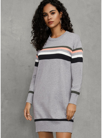 Striped Shift Long Sleeves Mini Casual Tunic Dresses