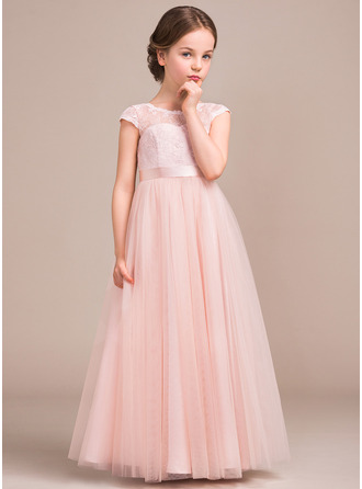 A-Line Scoop Neck Floor-Length Tulle Lace Junior Bridesmaid Dress With Bow(s)