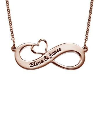 Custom 18k Rose Gold Plated Silver Heart Engraving/Engraved Two Infinity Name Necklace