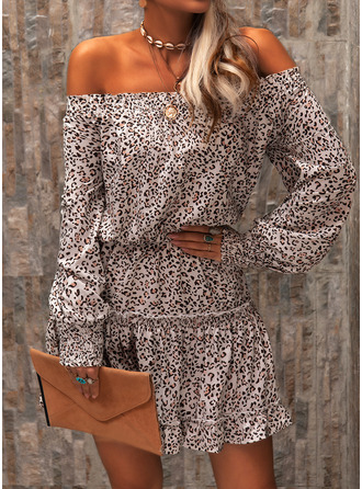 Leopard A-line Lantern Sleeve Long Sleeves Mini Casual Skater Dresses