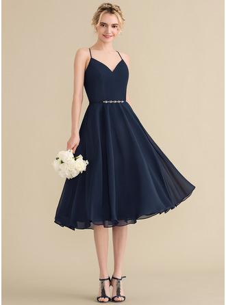A-Line V-neck Knee-Length Chiffon Bridesmaid Dress With Beading