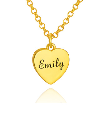 Custom 18k Gold Plated Silver Heart Xs Heart Necklace Engraved Necklace - Birthday Gifts Mother's Day Gifts