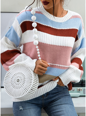 Round Neck Casual Color Block Ribbed Sweaters