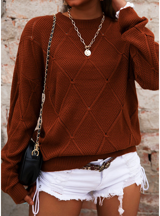 Round Neck Casual Solid Cable-knit Sweaters
