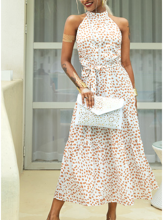 Maxi Halter Polyester Print Sleeveless Fashion Dresses