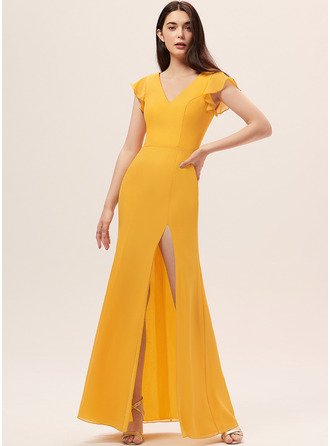 Sheath/Column V-neck Floor-Length Chiffon Bridesmaid Dress With Split Front