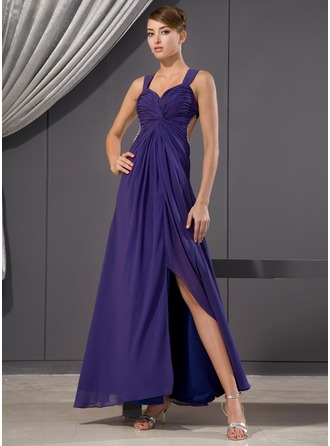 A-Line/Princess Sweetheart Ankle-Length Chiffon Evening Dress With Ruffle Beading Sequins Split Front