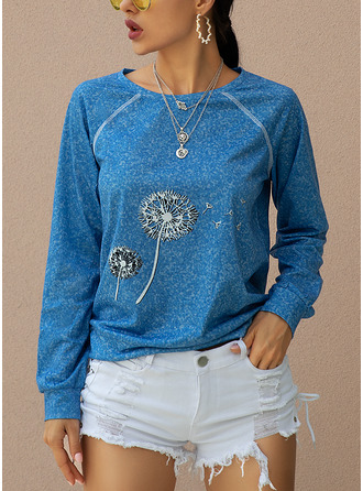 Print Long Sleeves Polyester Round Neck T-shirt Blouses