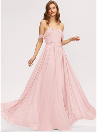 A-Linie Off-the-Schulter Bodenlang Chiffon Brautjungfernkleid