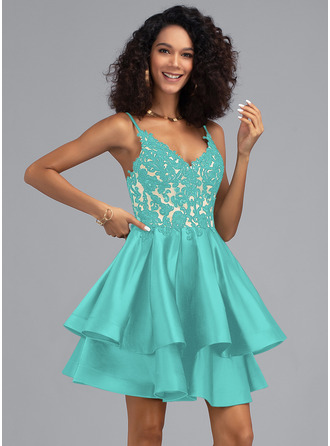 A-Line V-neck Short/Mini Satin Homecoming Dress With Sequins