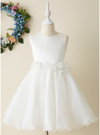 Áčkové Šaty Po kolena Flower Girl Dress - Organza Bez rukávů Scoop Neck