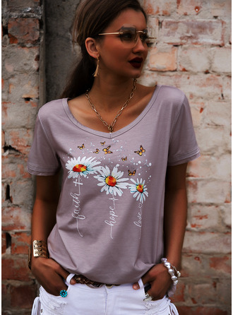 Floral Print V-Neck Short Sleeves Casual T-shirt (1003251468)