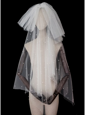 Two-tier Cut Edge Elbow Bridal Veils With Sequin