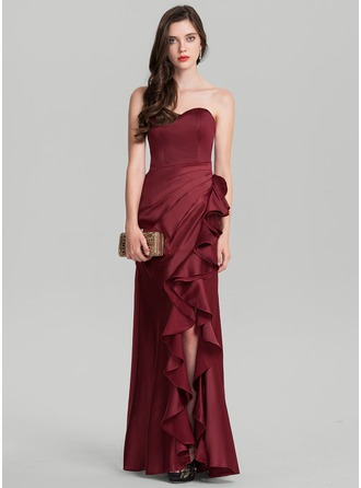 Sheath/Column Sweetheart Floor-Length Satin Evening Dress With Ruffle Cascading Ruffles