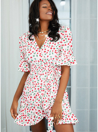 Print A-line 1/2 Sleeves Mini Casual Skater Wrap Dresses
